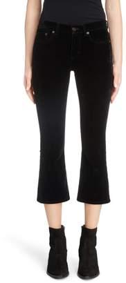 Saint Laurent Stretch Velvet Crop Pants
