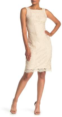 London Times Square Neck Lace Sheath Dress