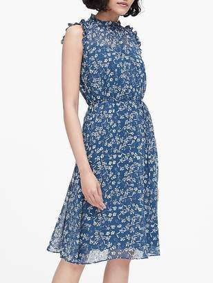 Banana Republic Petite Floral Ruffled Dress