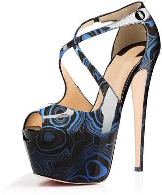 JOOGO Open Toe Platform Stilettos Ankle Corss Strap Buckle Snap High Heels Wedding Pumps Size 7
