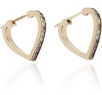 Noor Fares Anahata Pave Diamond Heart Hoop Earrings