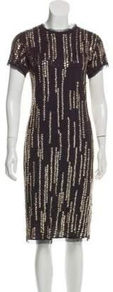 Lanvin Embellished Short Sleeve Dress