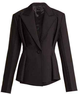 Helmut Lang Single Breasted Folded Crepe Blazer - Womens - Black
