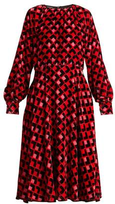 Rochas Geometric Print Velvet Midi Dress - Womens - Red Print