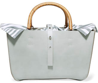 Muun Marian Leather And Striped Cotton-canvas Tote - Gray