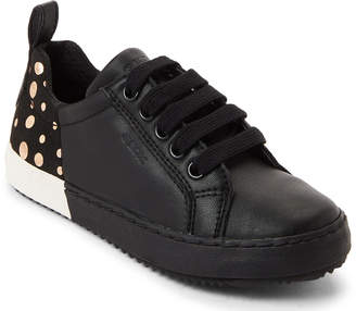 Geox Toddler/Kids Girls) Black & Gold Kalispera Low-Top Sneakers