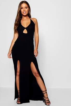 boohoo Petite Molly Halter Neck Maxi Dress