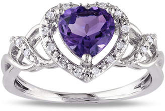FINE JEWELRY Heart-Shaped Genuine Amethyst and Diamond-Accent Ring