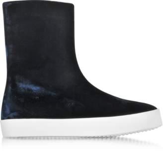 Jil Sander Dark Blue Velvet Boots w/Rubber Sole