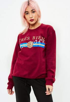 Missguided Burgundy Tres Bien Sweatshirt