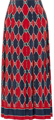 Gucci Pleated Printed Silk Crepe De Chine Midi Skirt - Red
