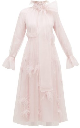 Roksanda Cowie Feather Trim Silk Organza Gown - Womens - Light Pink