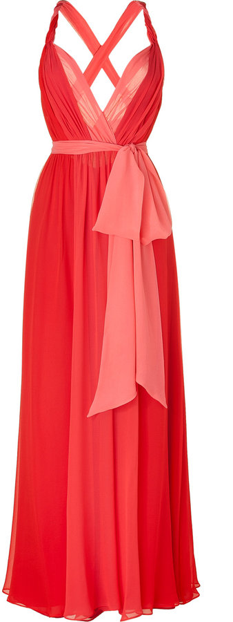 Halston Heritage Red and Coral Halter Gown