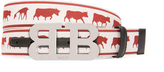 Bally Men's Mirror B Reversible Web-Leather Belt with Barnyard Animals