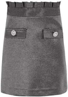 River Island Girls Silver Metallic Paperbag Skirt - Silver