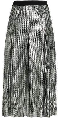 Maje Pleated Sequined Mesh Midi Skirt