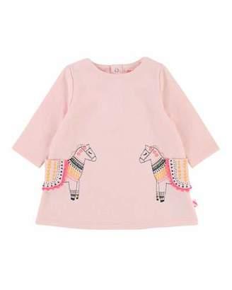Billieblush Long-Sleeve Sweater Dress w/ Horse Pockets, Size 2-3
