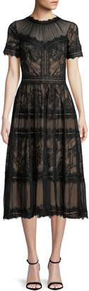 Tadashi Shoji Short-Sleeve Lace Midi Dress