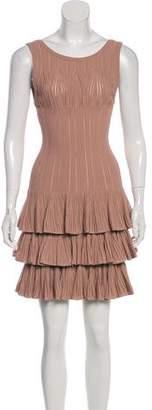 Alaia Ruffle-Accented Knee-Length Dress