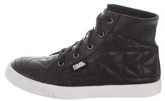 Karl Lagerfeld Boys' Leather High-Top Sneakers