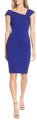 Vince Camuto Asymmetrical Neck Sheath Dress