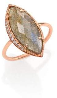 Jacquie Aiche Labradorite, Diamond & 14K Rose Gold Marquis Ring