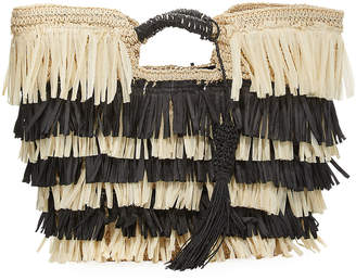 San Diego Hat Company Crochet Paper Tote Bag with Fringe, White/Black