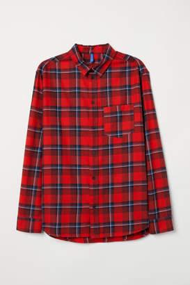 H&M Plaid Cotton Flannel Shirt - Red