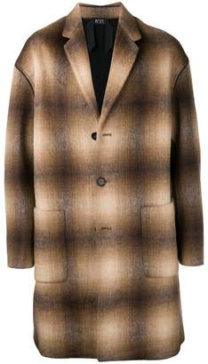 No.21 checked single-breasted coat