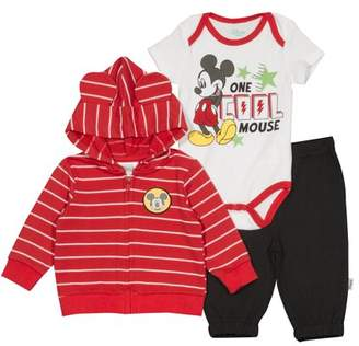 Disney Mickey Mouse Newborn Baby Boy French Terry Hoodie 3pc Set
