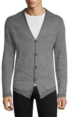 John Varvatos Men's Jacquard Stitch Shawl Collar Cardigan - Iron Grey - Size Large