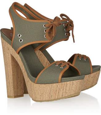 a3ee25c5469 Gucci Canvas Lace-up Platform Sandals - Sage green