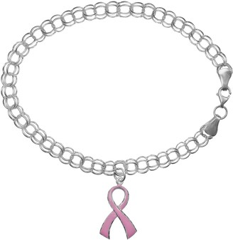 Platinum Over Silver Breast Cancer Awareness Ribbon Charm Bracelet