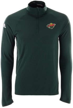 adidas Men's Minnesota Wild Secondary Logo Climatelite Quarter-Zip Pullover