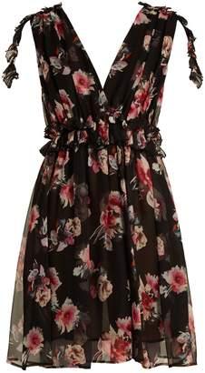 MSGM Silk-chiffon floral mini dress