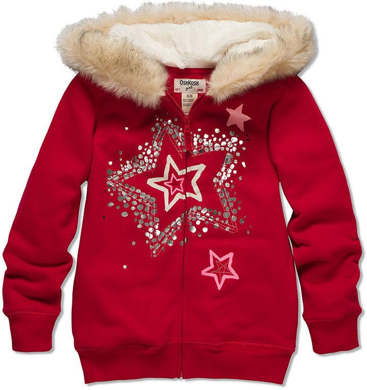 Osh Kosh Kids Hoodie, Little Girls Faux-Fur Zip-Up Hoodie