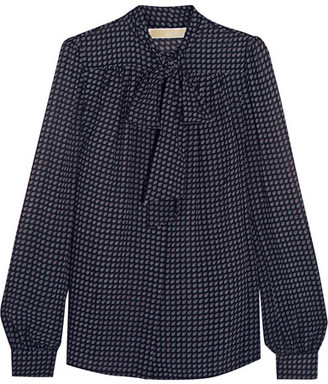 MICHAEL Michael Kors - Charlton Pussy-bow Printed Chiffon Blouse - Navy $105 thestylecure.com