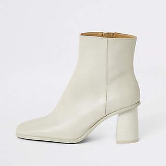 River Island Dark white leather platform wood heel boots