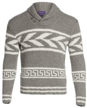 Ralph Lauren Purple Label Men's Knit Cashmere Shawl Collar Sweater - Grey - Size Medium