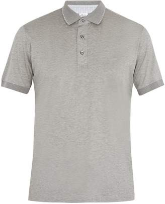 Brioni Contrast-collar cotton-jersey polo shirt