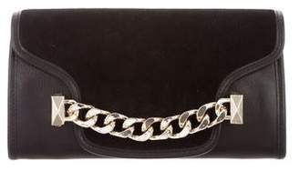 Karl Lagerfeld Leather Suede-Accented Flap Clutch