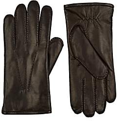 Barneys New York MEN'S FUR-LINED NAPPA LEATHER GLOVES-WINE SIZE 8