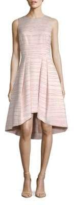 Shoshanna MIDNIGHT Coraline Metallic Striped Jacquard Dress
