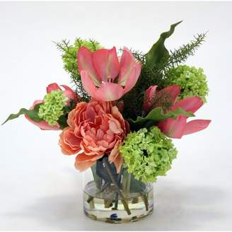 Rosdorf Park Tulips, Peony and Snowball Floral Arrangement in Glass Vase