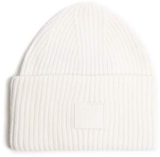 Acne Studios Pansy S Face ribbed-knit beanie hat