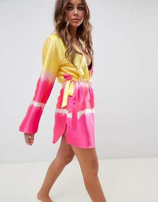 2b4db9e258 Chanel Asos Design ASOS DESIGN waist beach cover up in ombre tie dye