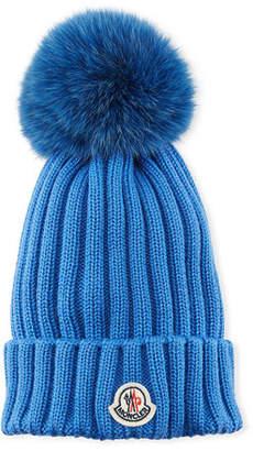 Moncler Berretto Knit Hat w/ Fur Pompom