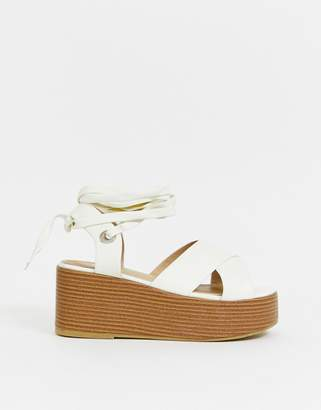 Raid RAID Connie off white stacked ankle tie wedges