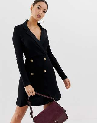 Asos Design DESIGN mini rib double breasted blazer dress with faux horn buttons
