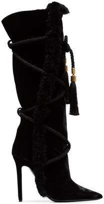 Versace black Pillow Talk 110 braided velvet knee high boots